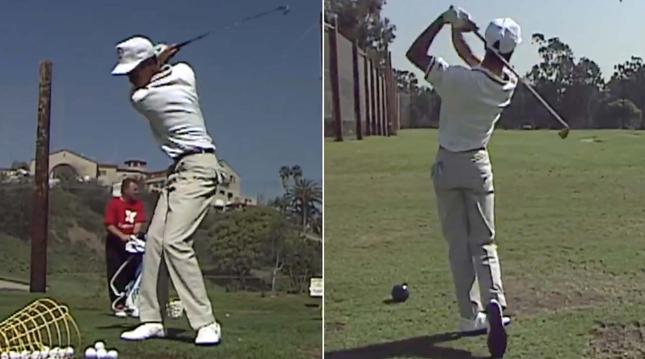 Tiger Woods pictured during a range session at Riviera in 1992