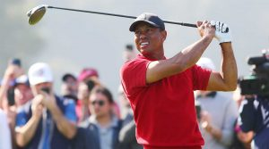 Tiger Woods watches a tee shot during the final round of the Genesis Invitational on Sunday in Los Angeles.