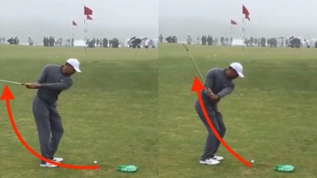 Tiger Woods practices his eye-catching practice drill at Riviera.