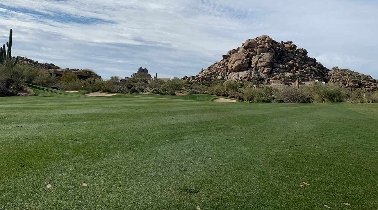 A view of the green on the par-5 14th hole at the Monument (with a difficult pin tucked to the left).