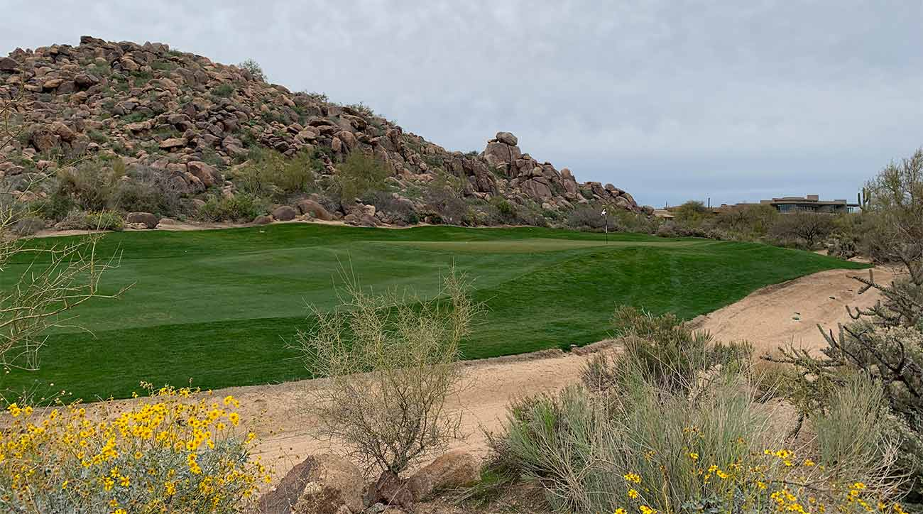 A view from the right side of the green of the par-5 11th hole at Troon North's Pinnacle course.