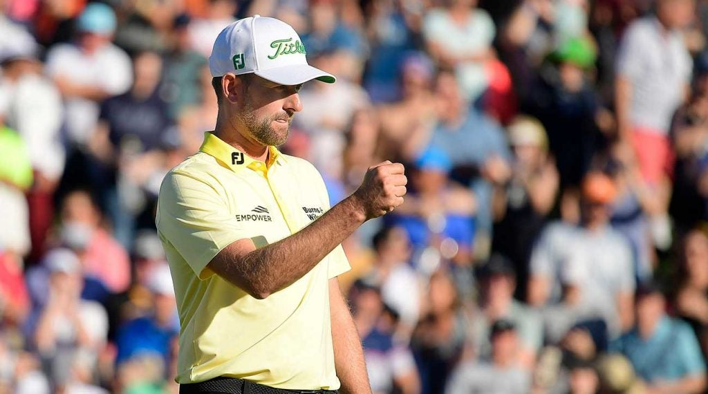 Webb Simpson celebrates during the final round of the Waste Management Phoenix Open. Simpson won for the sixth time in his career.