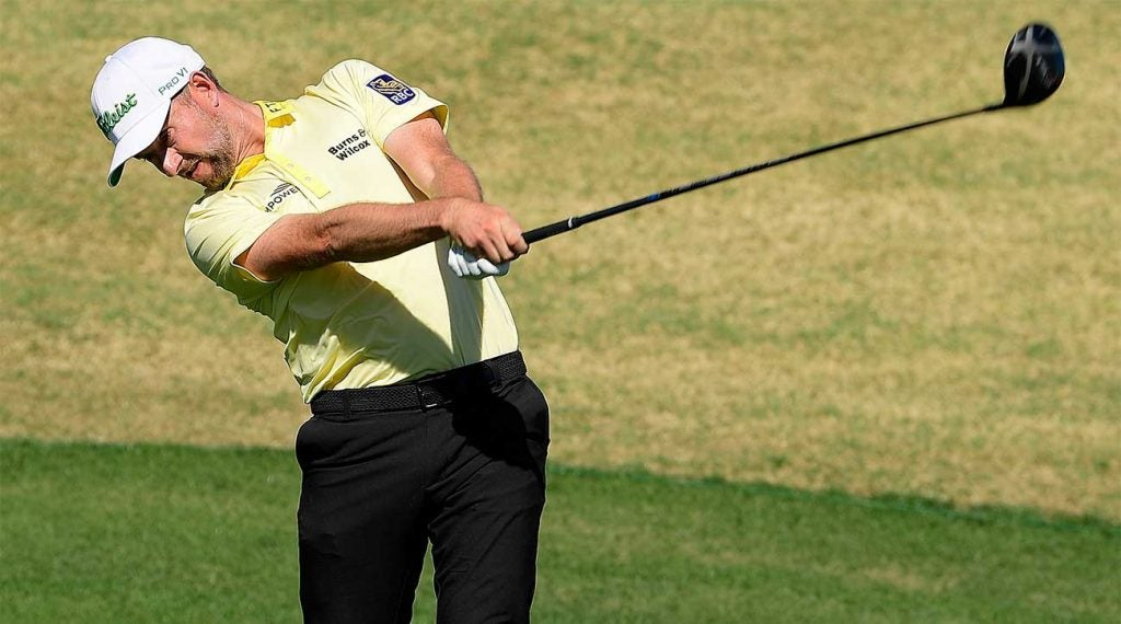 Webb Simpson tees off during the final round of the Waste Management Phoenix Open on Sunday at TPC Scottsdale.