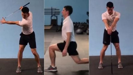 Coach performs golf exercises.