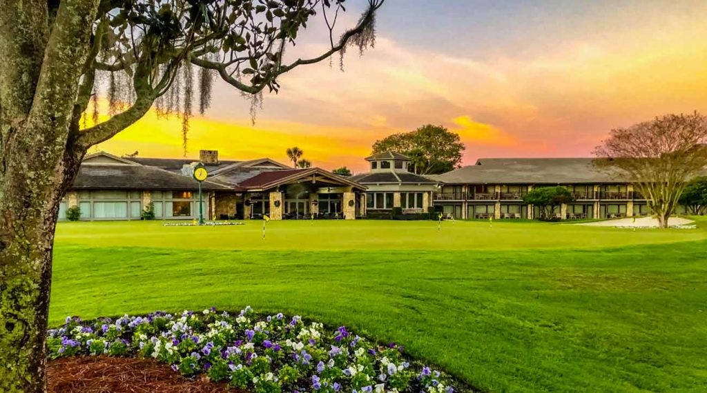 A view of the Bay Hill Lodge at sunset