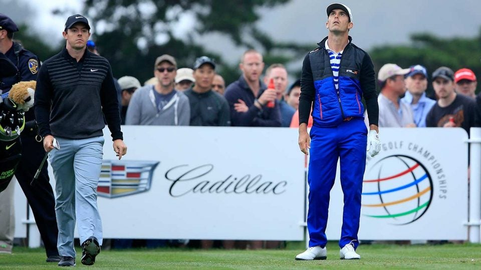 Billy Horschel and Rory McIlroy on a golf course