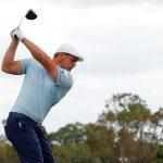 Bryson DeChambeau hits a tee shot at the Arnold Palmer Invitational.