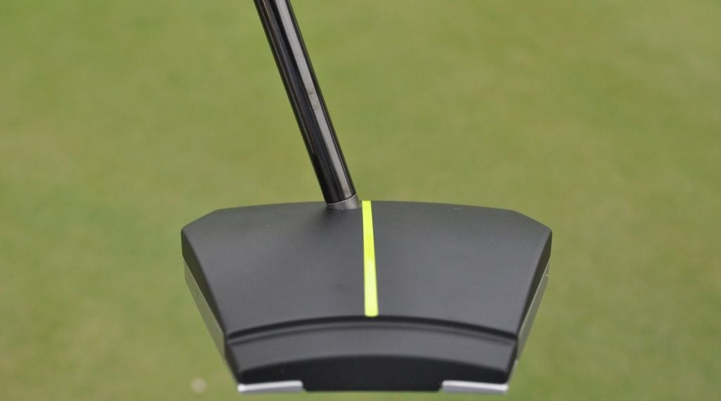 Notice where the shaft enters the top of the crown on this Tour-only Scotty Cameron T-8STR prototype putter.