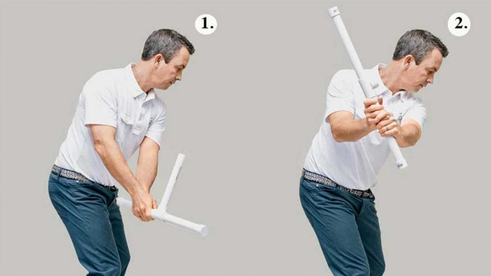 The arms and chest move together in a sound swing.