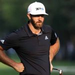 Dustin Johnson watches his playing partners putt at the WGC-Mexico Championship.