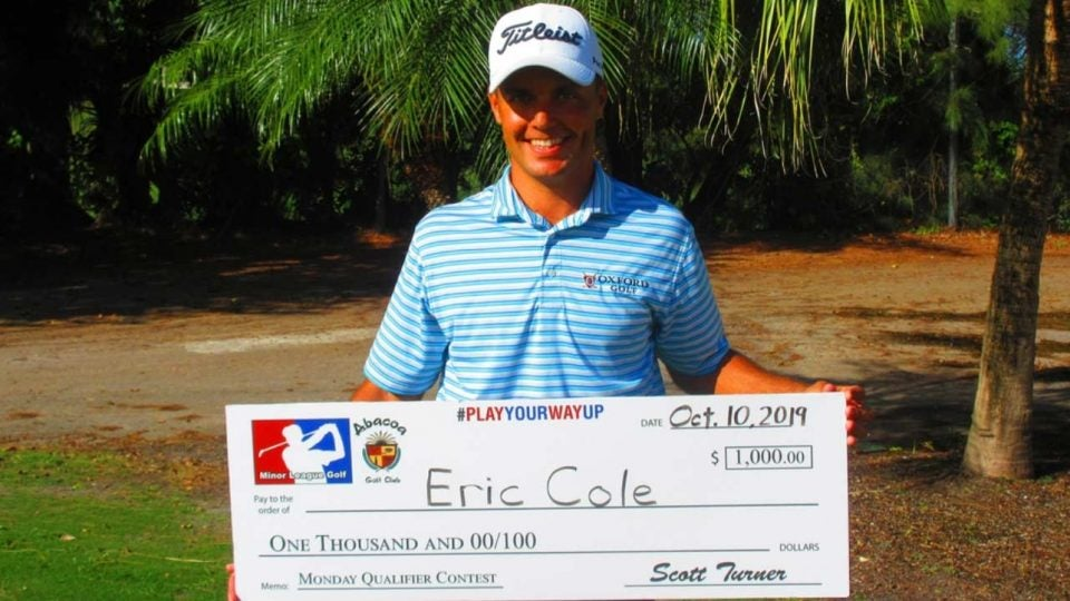 Eric Cole, the favorite at Thursday's Atlantis Winter Classic, recently won $1000 in another Minor League Golf Tour event.