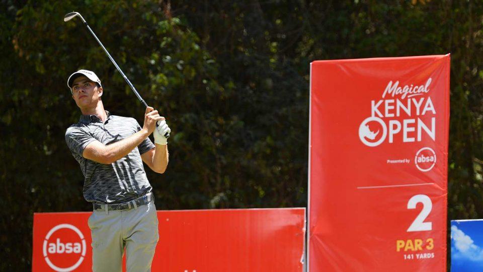Golfer Guido Migliozzi hits tee shot at 2019 Kenya Open.