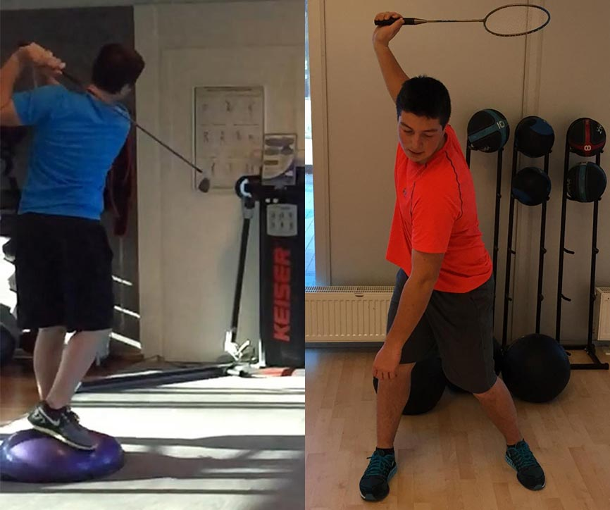 Viktor Hovland's training in the gym.