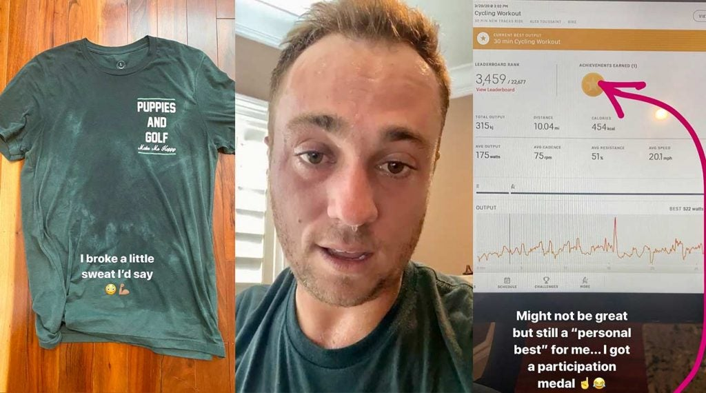 Justin Thomas shared his Peloton workout from over the weekend on social media.