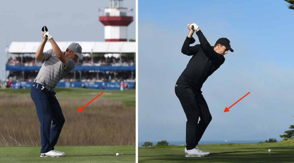 The difference between Jordan Spieth in 2015 (left) and 2020 (right) is subtle but important, says Brandel Chamblee.