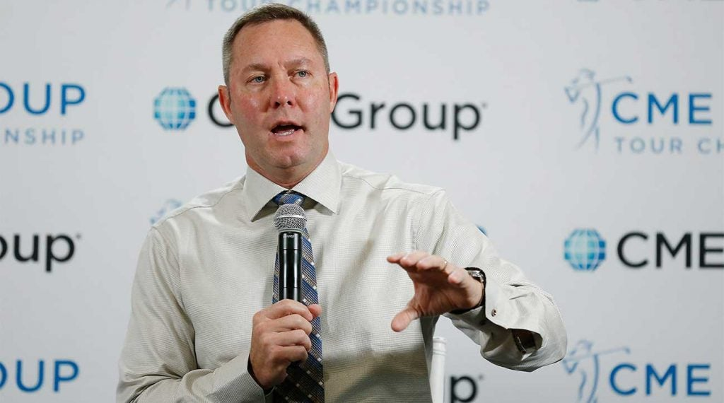 LPGA Commissioner Michael Whan speaks to the media at the CME Group Tour Championship on Nov. 22, 2019, in Naples, Fla.