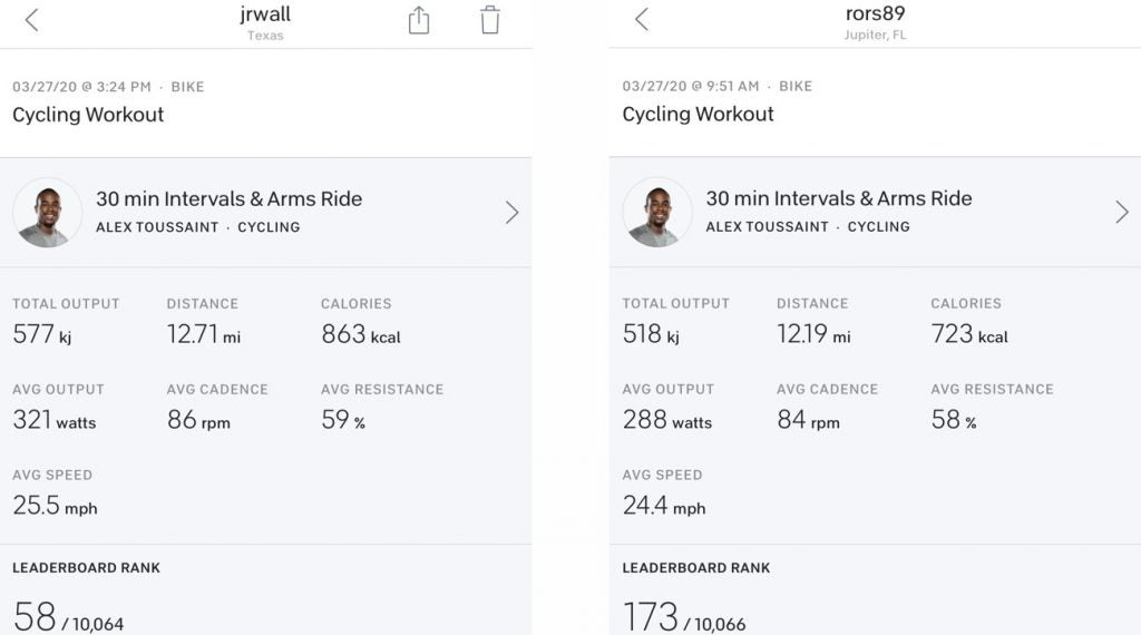 Go ahead and frame the stats. Our writer's Peloton numbers (L) versus Rory's.