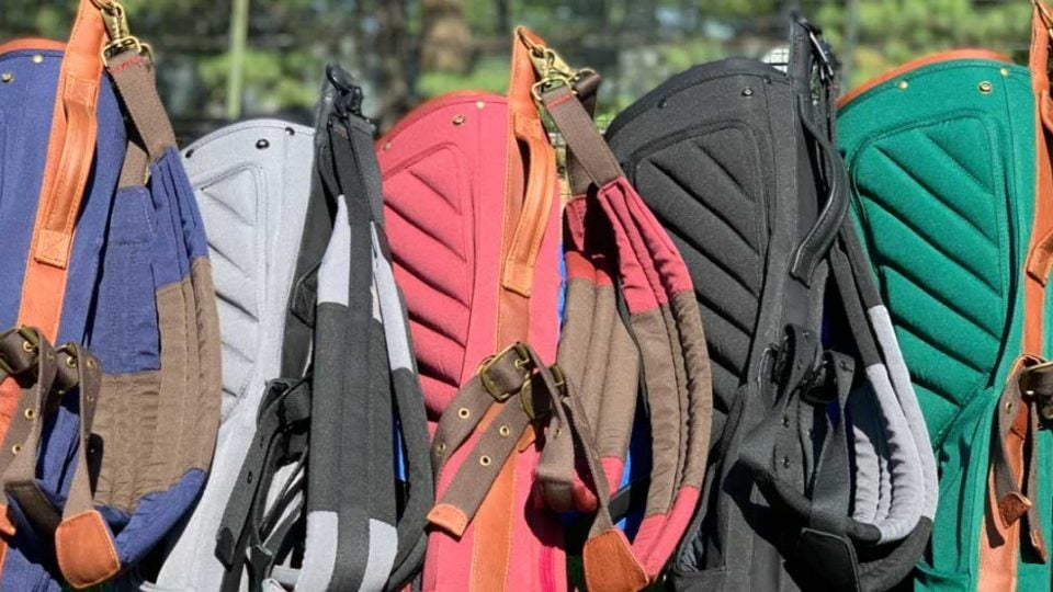 An array of Shapland golf bags