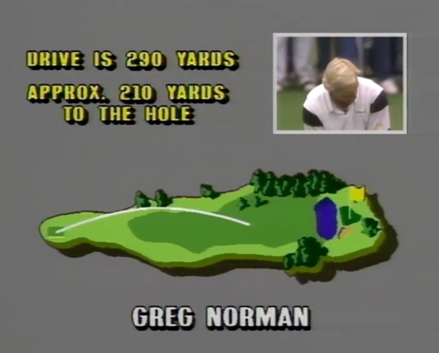 The shot-tracking graphics during the 1989 Masters final round broadcast were a bit analog.