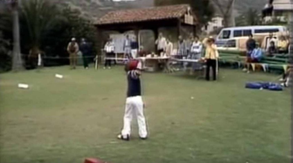 5-year-old Tiger Woods striping one off the first tee.