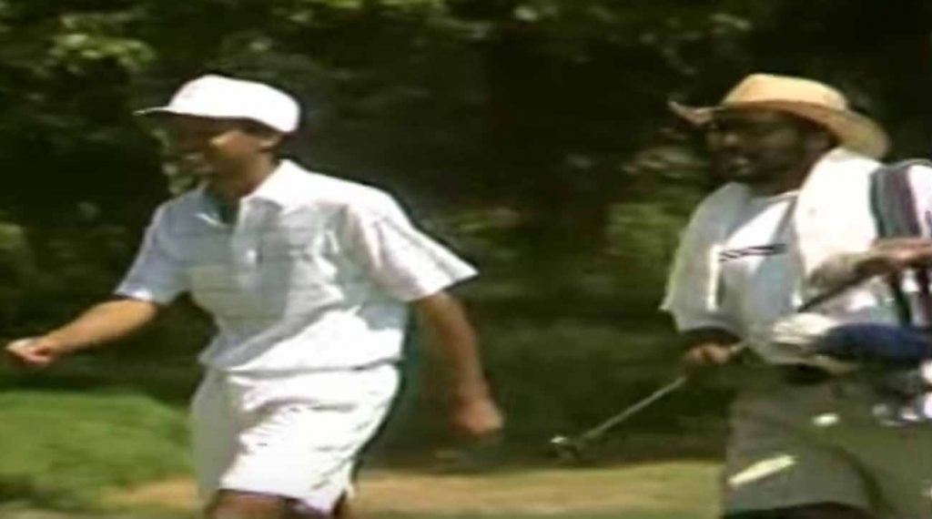 Tiger Woods and Kevin Woods, who caddied for him at the '91 U.S. Am.