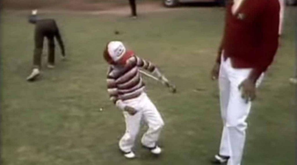 Tiger celebrating a crisp chip shot.
