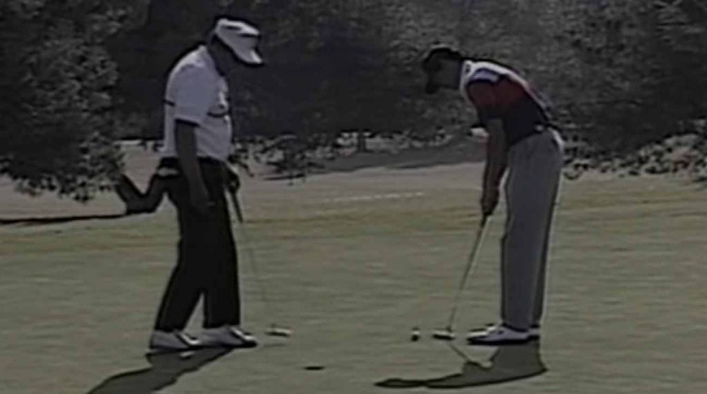 We've heard for years about Earl Woods trash-talking Tiger, but we rarely get to see it.