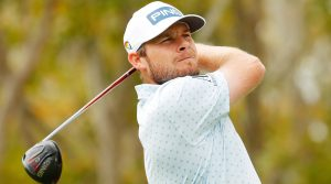 Tyrrell Hatton watches a tee shot during the final round at Bay Hill.
