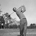 Ben Hogan golf swing black and white