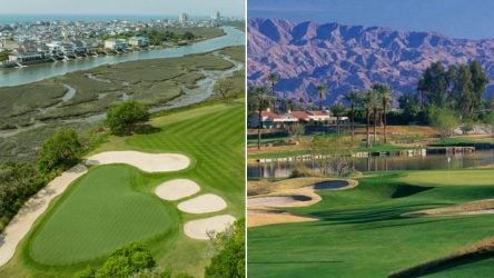 Split aerial view of two golf courses