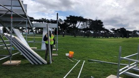 Worked builds grandstands on golf course
