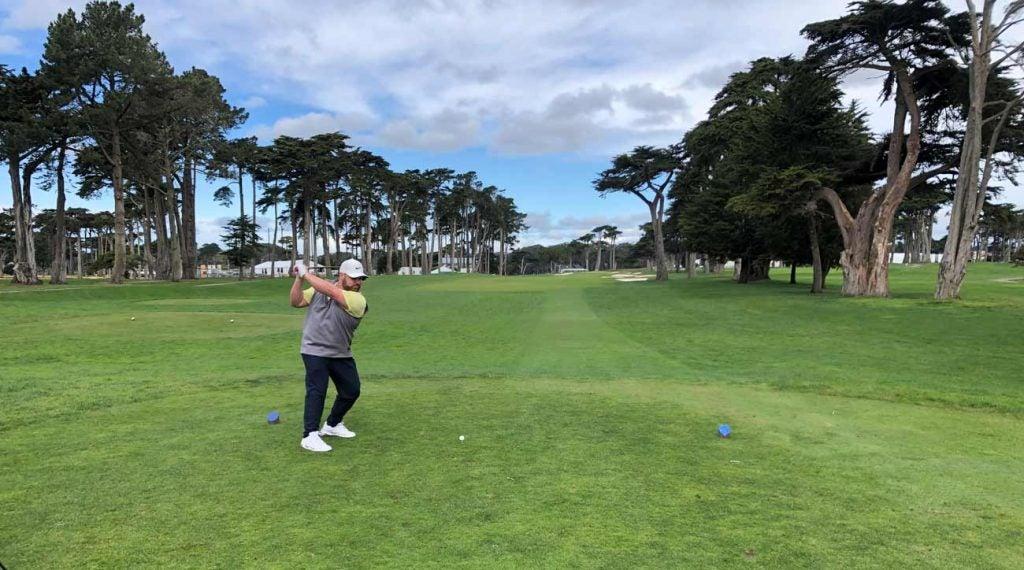 A golfer plays TPC Harding Park on Monday.