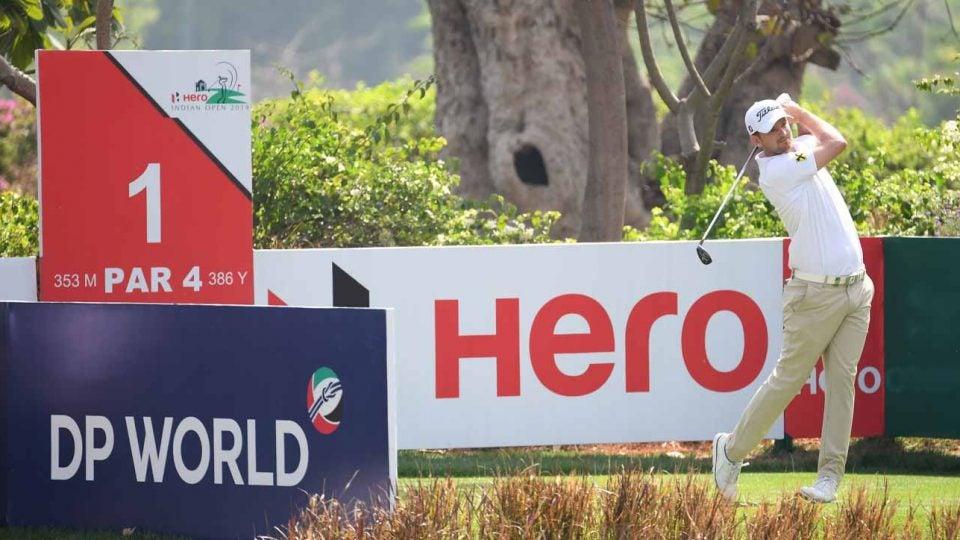 Bernd Wiesberger hits a golf shot at the 2019 Hero Indian Open