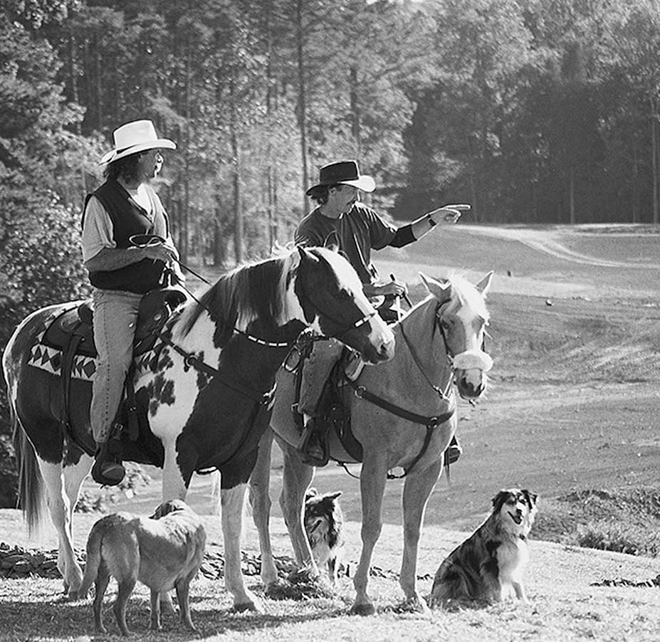 Strantz was known to roam courses he was building on his trust horse, Scout.
