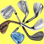 Seven golf wedges on a yellow background.