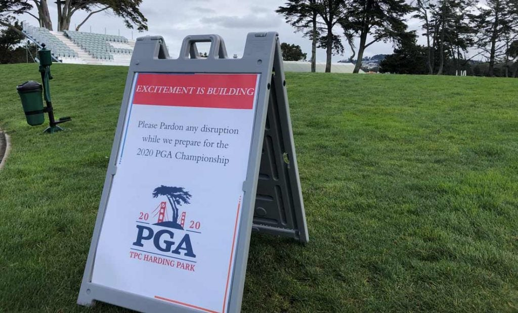 A sign pictured on Monday at TPC Harding Park.