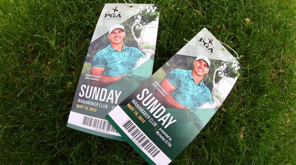 Tickets to the 2019 PGA Championship at Bethpage Black, won by Brooks Koepka.