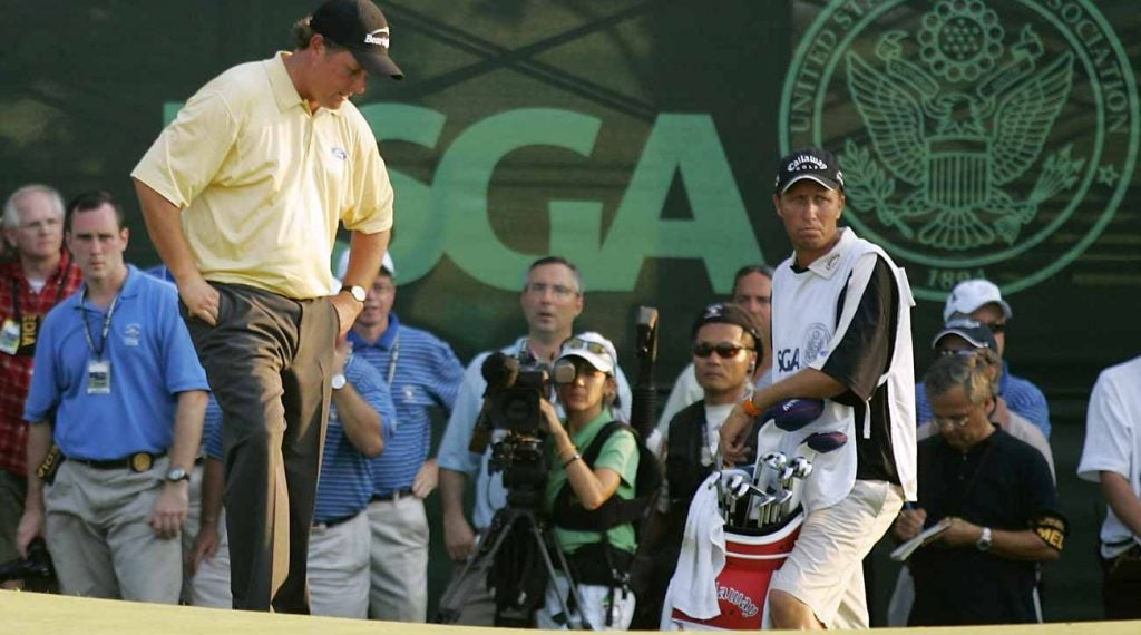 Phil Mickelson in the midst of his collapse at the 2006 U.S. Open at Winged Foot.