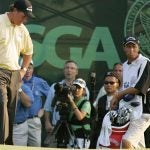 Phil Mickelson looks at his golf ball at the 2006 U.S. Open