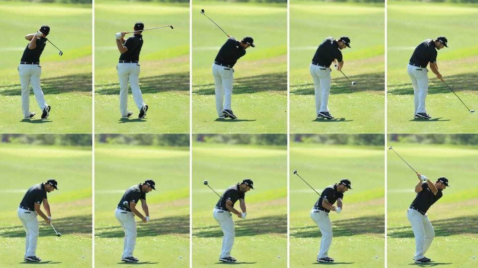 AUSTIN, TX - MARCH 21: (EDITORS NOTE: THIS IS A COMPOSITE IMAGE, ALL INDIVIDUAL IMAGES AVAILABLE SEPARATELY) John Rahm of Spain swing sequence during a practise round for the WGC Dell Match Play at Austin Country Club on March 21, 2017 in Austin, Texas. (Photo by Richard Heathcote/Getty Images)