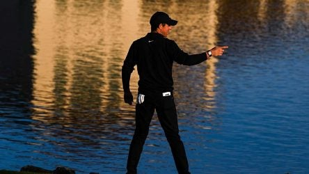 Rory McIlroy pointing green