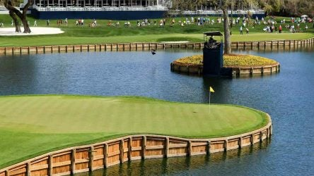 PONTE VEDRA BEACH, FLORIDA - MARCH 11: General view of the 17th green during a practice round prior to The PLAYERS Championship on The Stadium Course at TPC Sawgrass on March 11, 2020 in Ponte Vedra Beach, Florida. (Photo by Mike Ehrmann/Getty Images)