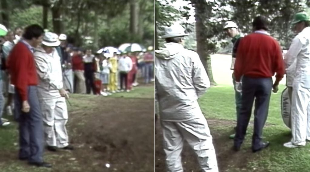 Seve Ballesteros did all he could to get a favorable ruling left of the 10th fairway, but Ken Green called him out for it.