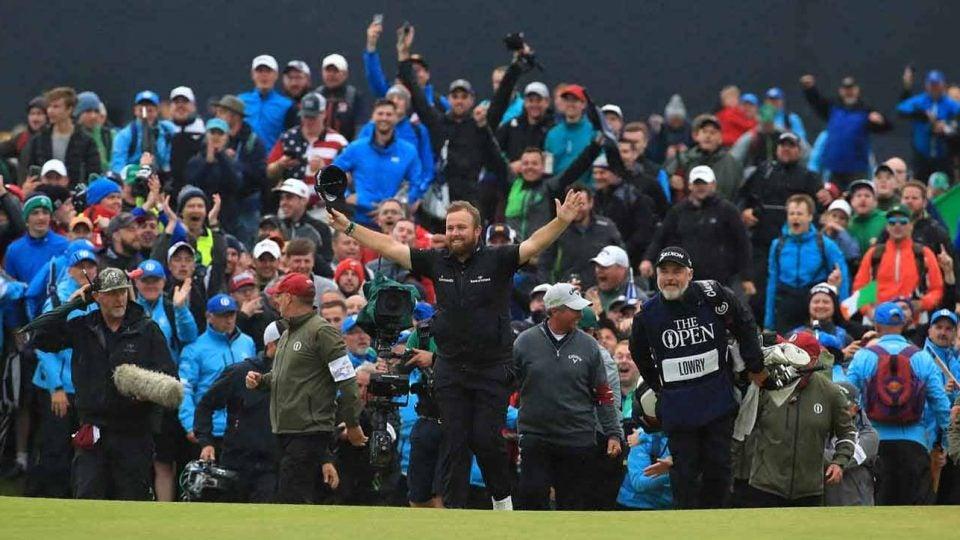 Shane Lowry celebrates after winning British Open.