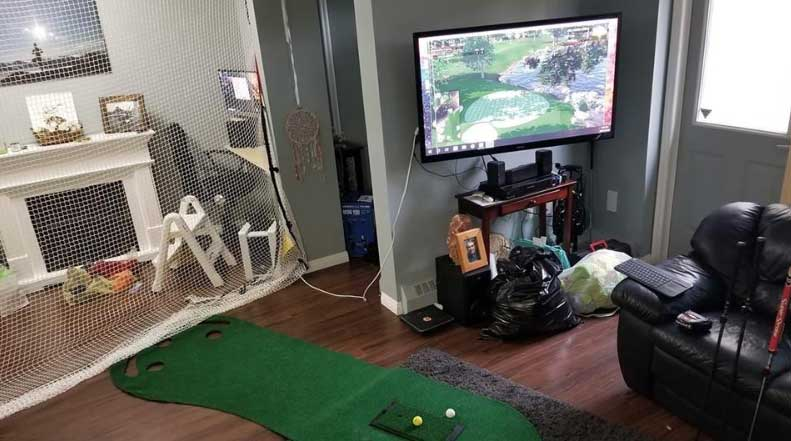 The simulator can be set up in nearly any sized living room. All you need is a net, mat, and TV or computer monitor.