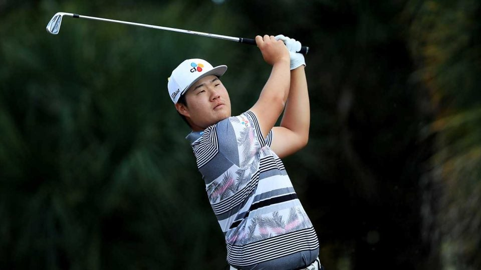 Sungjae Im watches a tee shot during the final round of the Honda Classic.