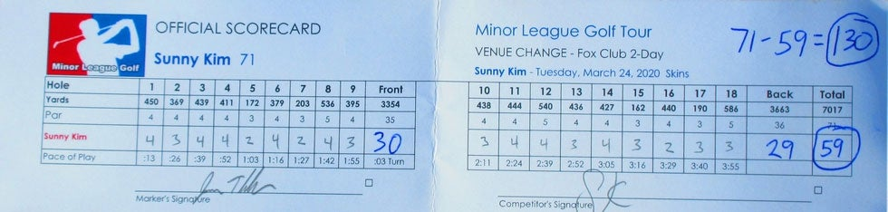 The scorecard from Sunny Kim's round of 59 on Tuesday.