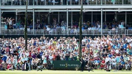 Tiger Woods tee shot 17 sawgrass crowd