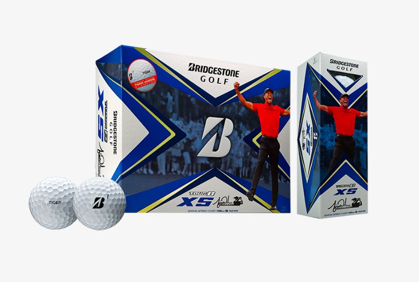 The packaging of the new Bridgestone golf ball honors Tiger Woods 2019 Masters win.