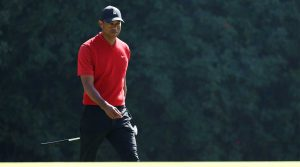 Tiger Woods walks on the green at the Genesis Invitational.
